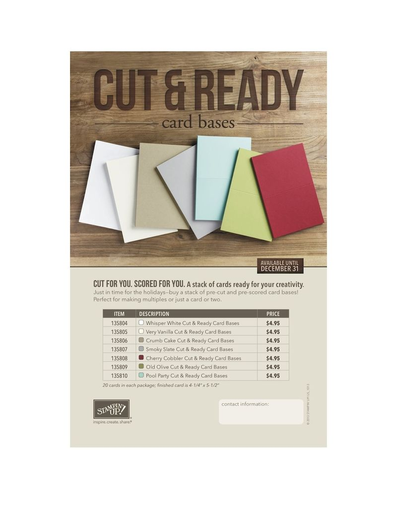 Cut and Ready card base flyer